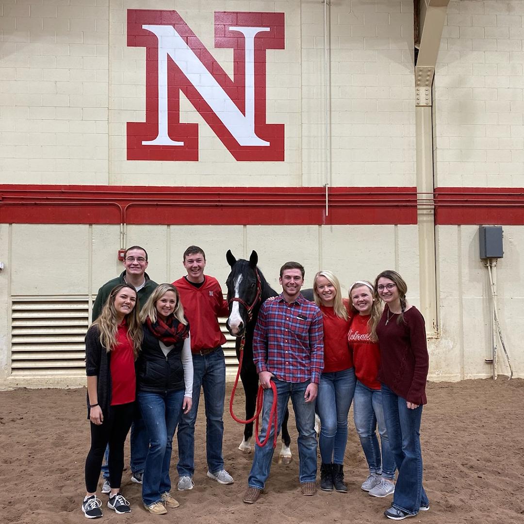 CASNR Ambassador stand near a horse named Leroy