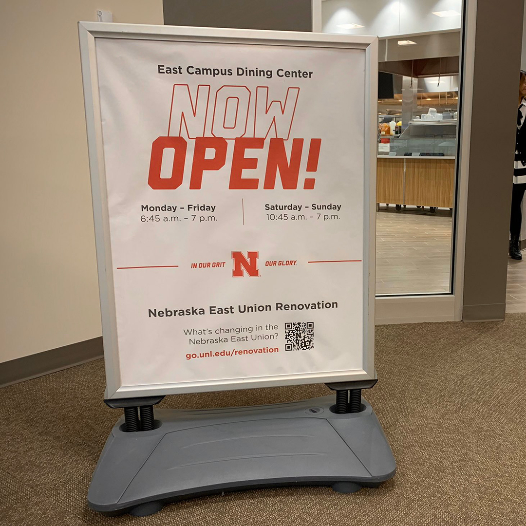 OPEN NOW sign welcomes students to the renovated East Campus Dining Center