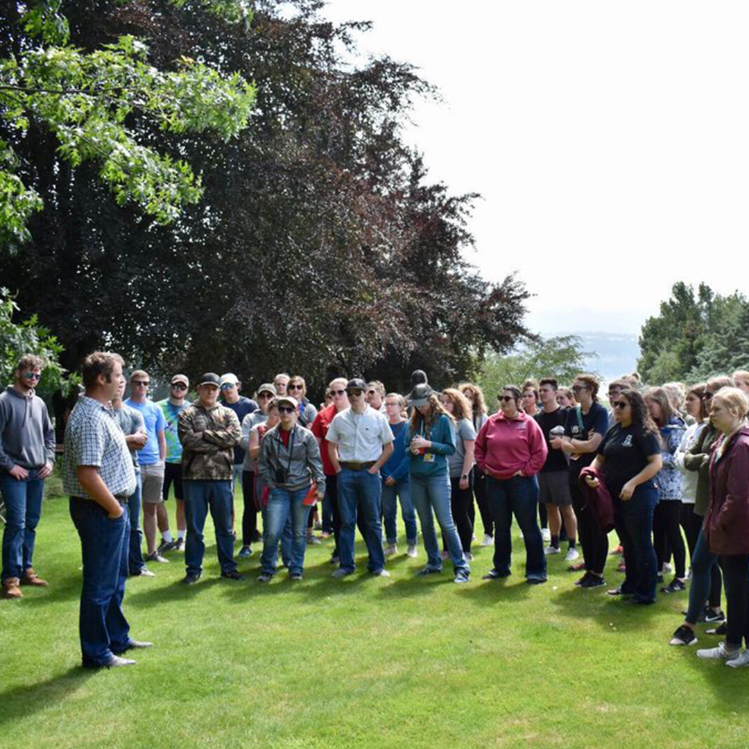 CASNR students gather to hear from a local farmer in New Zealand