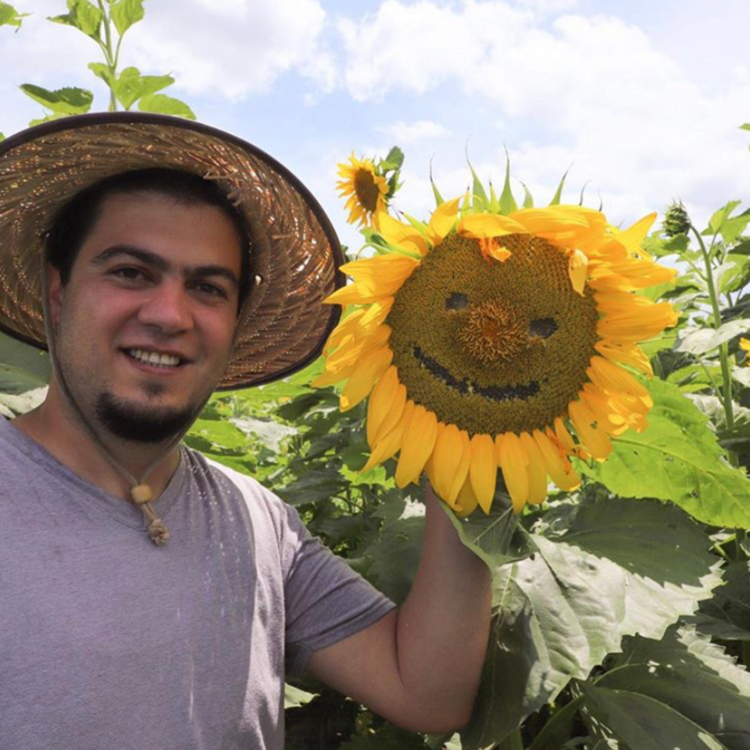 Man holds sunflower with smile etched into seeds