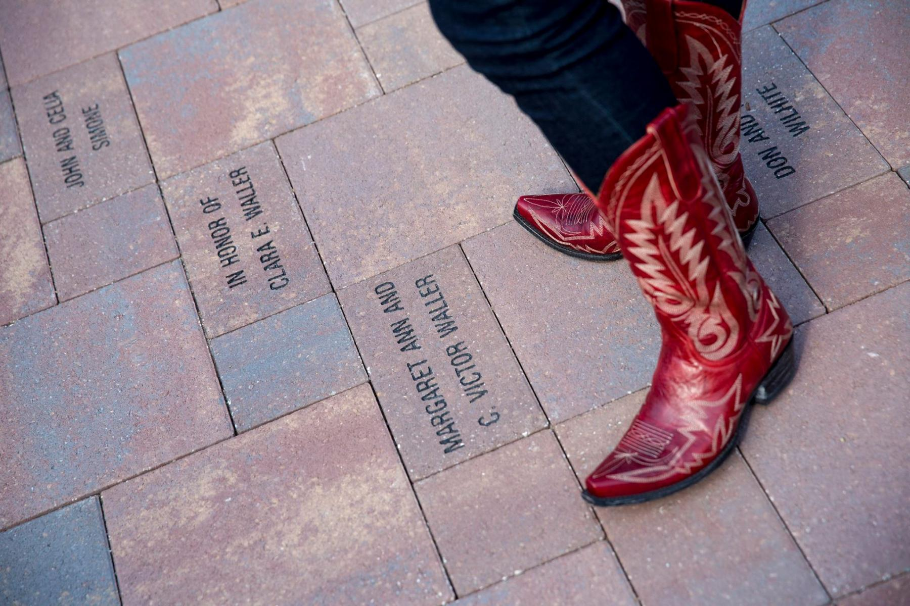 Boots standing on CASNR Alumni Donation Bricks