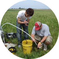 student working in field