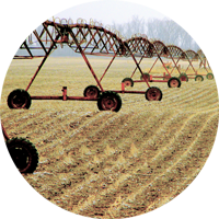 irrigation pivot in field