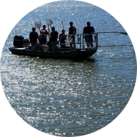 Water Science class in boat